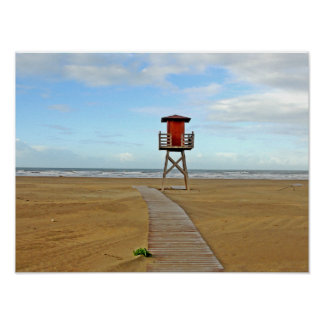 Lifeguard Stand on Empty Beach Poster