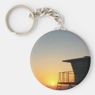 Lifeguard Sunset Basic Round Button Keychain