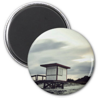 Lifeguard Themed, Empty Lifeguard Shack Sits Close 2 Inch Round Magnet