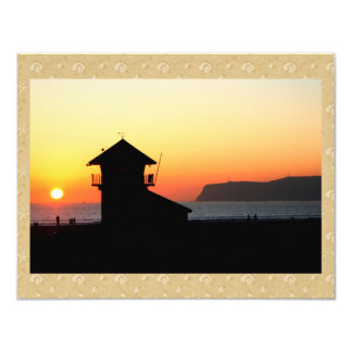 Lifeguard Tower at Sunset 4.25x5.5 Paper Invitation Card