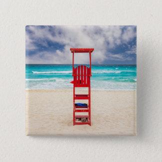 Lifeguard Tower On Beach | Cancun, Mexico Pinback Button