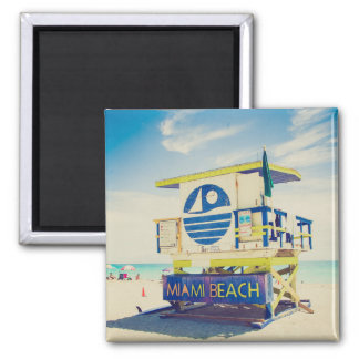 Lifeguard Tower | South Beach, Miami, Fl 2 Inch Square Magnet
