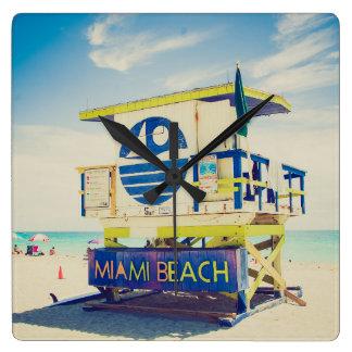 Lifeguard Tower | South Beach, Miami, Fl Square Wall Clock