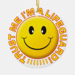Lifeguard Trust Me Smiley Double-Sided Ceramic Round Christmas Ornament