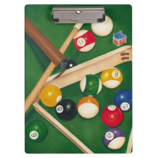 Lifelike Billiards Table with Balls and Chalk Clipboard