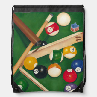 Lifelike Billiards Table with Balls and Chalk Drawstring Backpack