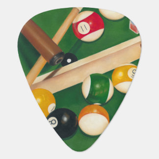 Lifelike Billiards Table with Balls and Chalk Guitar Pick