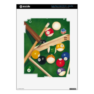 Lifelike Billiards Table with Balls and Chalk iPad 3 Decal