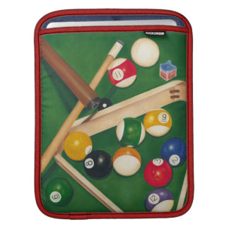 Lifelike Billiards Table with Balls and Chalk Sleeves For iPads