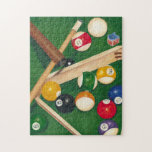 Lifelike Billiards Table with Balls and Chalk Jigsaw Puzzle