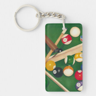 Lifelike Billiards Table with Balls and Chalk Keychain
