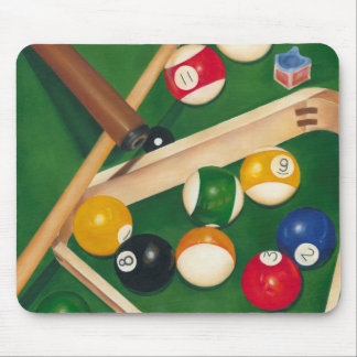 Lifelike Billiards Table with Balls and Chalk Mouse Pad