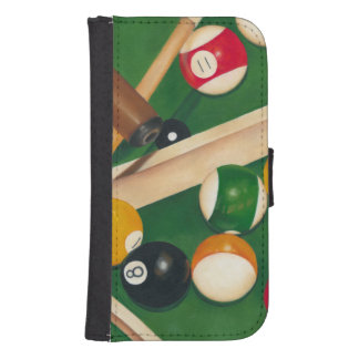 Lifelike Billiards Table with Balls and Chalk Phone Wallets