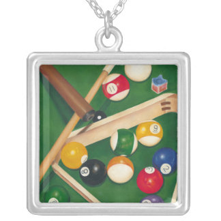 Lifelike Billiards Table with Balls and Chalk Silver Plated Necklace