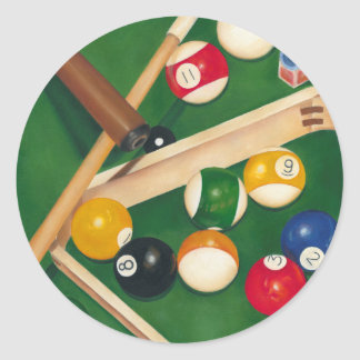 Lifelike Billiards Table with Balls and Chalk Round Sticker