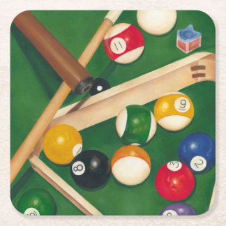 Lifelike Billiards Table with Balls and Chalk Square Paper Coaster
