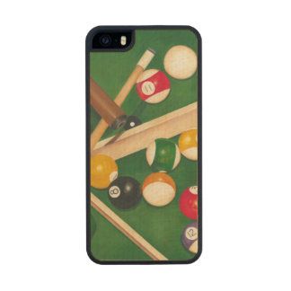 Lifelike Billiards Table with Balls and Chalk Carved® Maple iPhone 5 Case