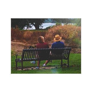 Lifelong Companions Couple in Park Canvas Print