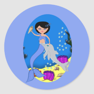 Lifen el pegatina azul de la sirena y del delfín