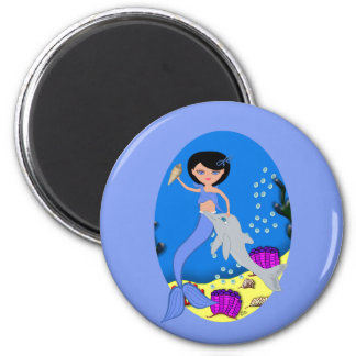 Lifen the Blue Mermaid and Dolphin Magnet