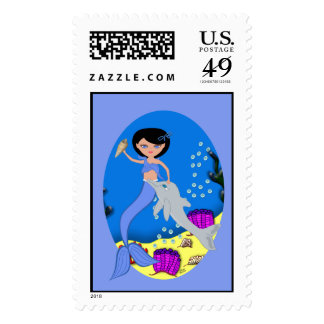 Lifen the Mermaid and Dolphin Postage