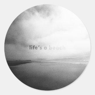 Life's a Beach - Black and White Typographic Photo Classic Round Sticker