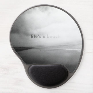 Life's a Beach - Black and White Typographic Photo Gel Mouse Pad