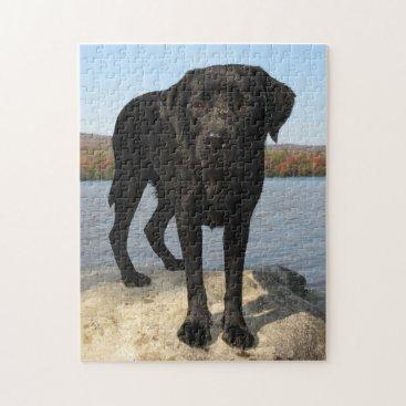 Beach Themed Life's a Beach - Black Labrador Jigsaw Puzzle