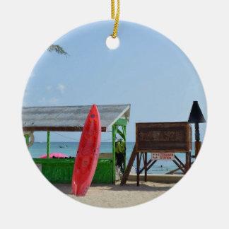 Life's a beach ceramic ornament