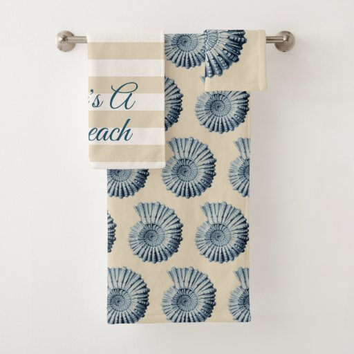 Spiral Blue Seashells Bath Towel Set
