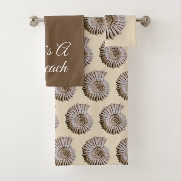 Beach Themed Life's A Beach Spiral Tan Seashells Bath Towel Set