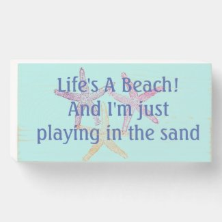 Life's a beach wooden box sign