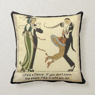 Life's a Dance:  Art Deco Illustration Throw Pillow