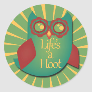 Life's a hoot classic round sticker