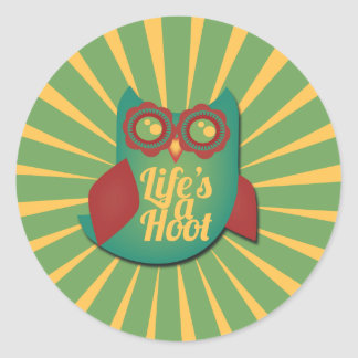 Life's a Hoot owl Classic Round Sticker