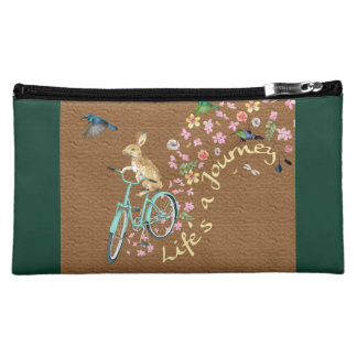 """Life's a Journey"" medium evergreen cosmetic bag"
