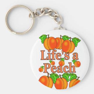 Life's a Peach Basic Round Button Keychain
