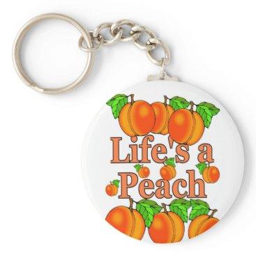 Beach Themed Life's a Peach Keychain