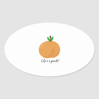 Lifes a Peach Oval Stickers