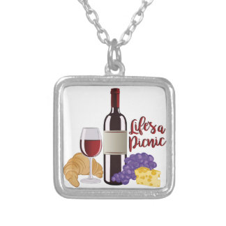 Lifes A Picnic Silver Plated Necklace