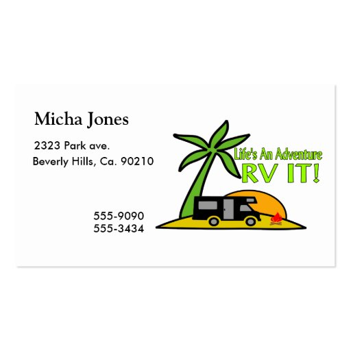 Life's An Adventure So RV It Business Card Templates
