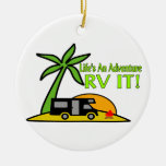 Life's An Adventure So RV It Double-Sided Ceramic Round Christmas Ornament