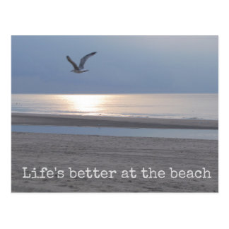 Life's better at the beach - Fun Quote Postcard