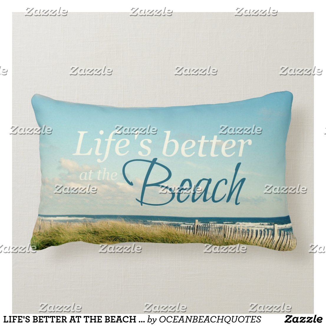 lifeu0027s better at the beach photo pillow