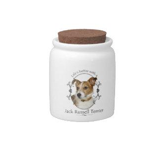 Life's Better Jack Russell Treat Jar Candy Jar