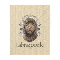 Life's Better Labradoodle Fleece Blanket