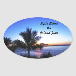 Life's Better On  Island Time Oval Sticker