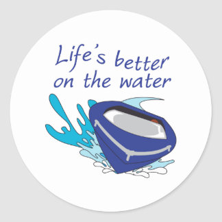 LIFES BETTER ON THE WATER ROUND STICKERS