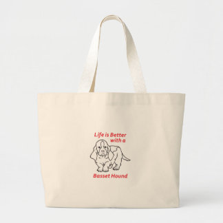 LIFES BETTER WITH BASSET TOTE BAGS