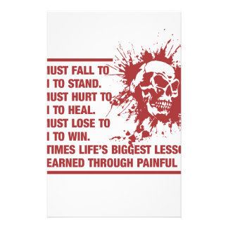 Lifes Biggest Lessons Are Learned Through Pain Stationery